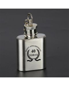 Laser Engraved 1oz Stainless Steel Hip Flask Key Ring With Happy 40th Birthday Wreath Design