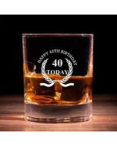 Traditional Whisky Glass With Happy 40th Birthday Wreath Design