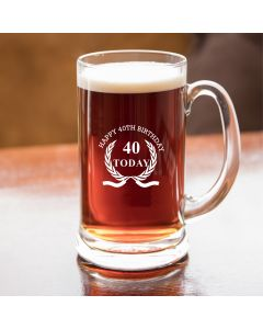 Half Pint Glass Tankard With Happy 40th Birthday Wreath Design