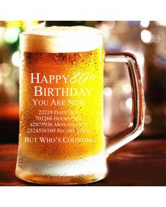 Happy 80th Birthday You are Now Days Hours Minutes Seconds Old Novelty Pint Glass Tankard