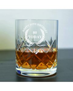 Cut Crystal 11oz Whisky Glass With Happy 80th Birthday Wreath Design