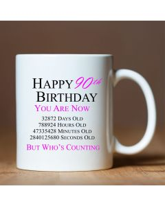 Happy 90th Birthday You are Now Days Hours Minutes Seconds Old Novelty Ceramic Mug, Pink, 11 oz