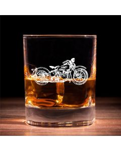 Traditional Whisky Glass With Harley Davidson Design