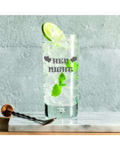 10oz Bubble Base Hi Ball Glass With Hen Night Design