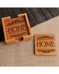 Set of 4 Wooden Coasters with Stand - Home Design