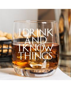 "Game of Thrones Inspired Curved Whisky Glass With ""I Drink and I Know Things"" Quote"