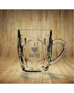 I Love Beer Dimpled Beer Glass