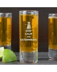 Keep Calm And Exterminate Doctor Who Inspired Shot Glass