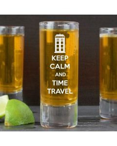 Keep Calm And Time Travel Doctor Who Inspired Shot Glass