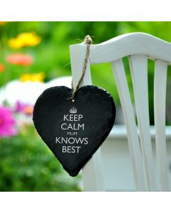 Lapal Dimension Keep Calm Mum Knows Best Engraved Slate Heart - 9cm