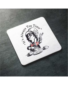 British Library Alice in Wonderland Wooden Coaster with Mad Hatter Design
