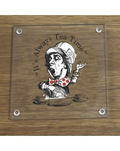 British Library Alice In Wonderland Glass Coaster With Mad Hatter Design