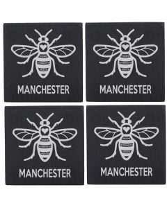 Manchester Bee Pack of 4 Slate Coasters
