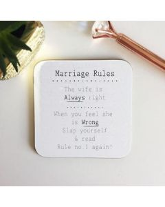 Marriage Rules Cork Coaster