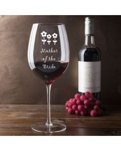 750ml Wine Glass (Holds a Whole Bottle of Wine) With Mother of the Bride Flowers Design