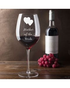 750ml Wine Glass (Holds a Whole Bottle of Wine) With Mother of the Bride Hearts Design