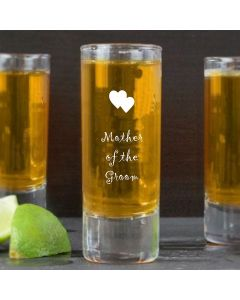 2oz Shot Glass With Mother of the Groom Hearts Design