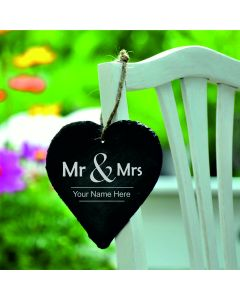 Lapal Dimension Mr & Mrs Personalised Slate Heart With Chalk - 9cm
