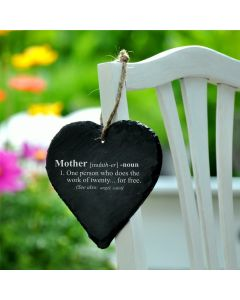 Mother Definition Engraved 9cm Slate Heart