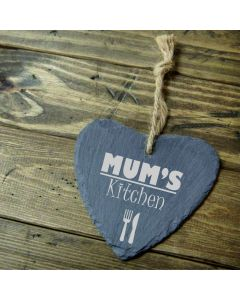 Mum's Kitchen 9cm Engraved Slate Heart