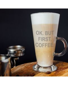 Ok, but first Coffee Latte Glass & Gift Box