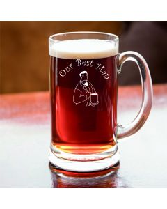 Half Pint Glass Tankard With Our Best Man Design