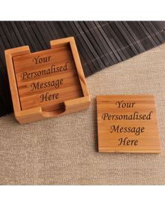 Personalised Set of 4 Wooden Coasters with Holder