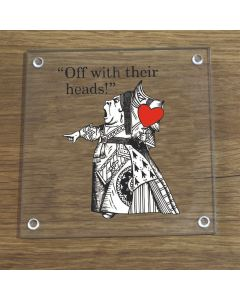 British Library Alice In Wonderland Glass Coaster With Queen of Hearts Design