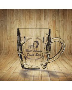 Real Women Drink Beer Dimpled Beer Glass