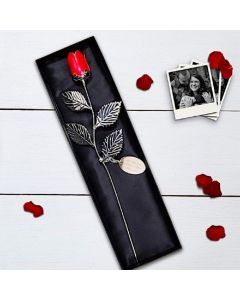 Personalised Silver Plated Rose With Red Bud - With an Engraved tag