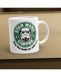 Star Wars Starbucks Inspired May The Froth Be With You Ceramic Mug, White, 11oz