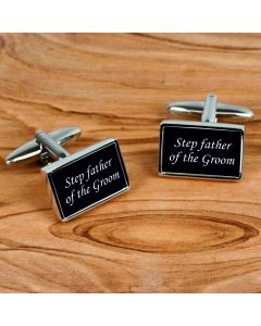 Rectangular Chrome Finish Pair of Cufflinks With Step Father of the Groom Design