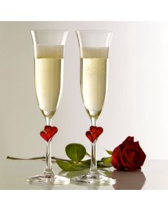 Pair Of Personalised Engraved Glass 'Red Heart Stem' Champagne Flutes