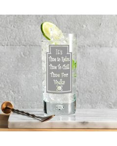 """""""It's time to relax, time to chill, time for Vodka"""" 10oz Bubble Base Hi-Ball Glass"""