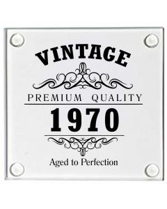 Vintage 1970 50th Birthday Glass Coaster