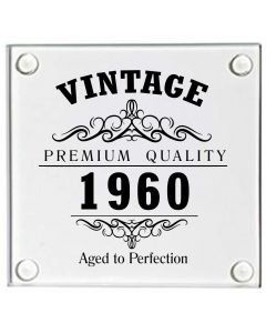Vintage 1960 60th Birthday Glass Coaster