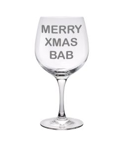 'Merry Xmas Bab' Copa Gin Glass