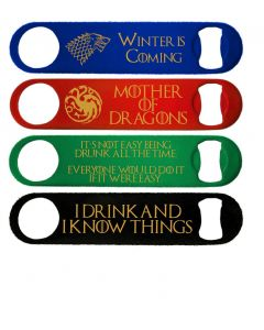 Game of Thrones Inspired Pack of 4 Coloured Bottle Openers