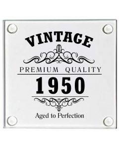 Vintage 1950 70th Birthday Glass Coaster