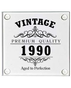 Vintage 1990 30th Birthday Glass Coaster