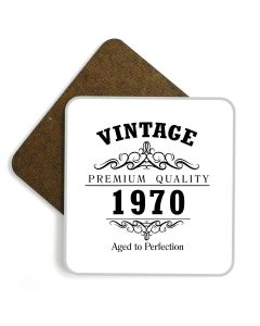 Vintage 1970 50th Birthday Wooden Glossy Coaster