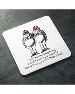 British Library Alice in Wonderland Wooden Coaster with Tweedledee & Tweedledum Design