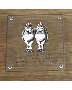 British Library Alice In Wonderland Glass Coaster With Tweedledee & Tweedledum Design