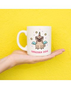 Unicorn Pug Cute Novelty Ceramic Mug, White, 11 oz
