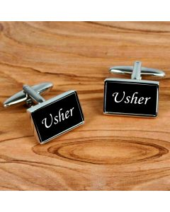 Rectangular Chrome Finish Pair of Cufflinks With Usher Design