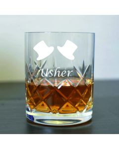 Cut Crystal 11oz Whisky Glass With Usher Design