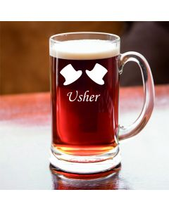 Half Pint Glass Tankard With Usher Design