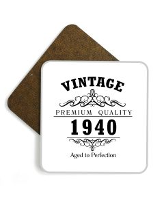 Vintage 1940 80th Birthday Wooden Glossy Coaster
