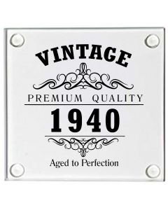 Vintage 1940 80th Birthday Glass Coaster