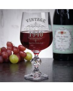 Vintage 1940 80th Birthday 11oz Wine Goblet